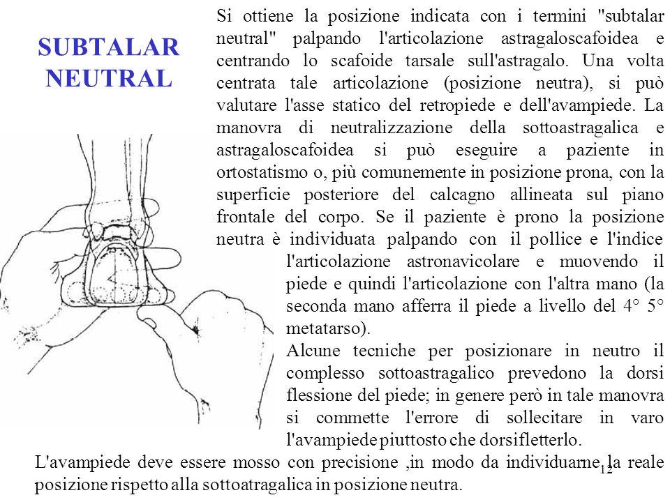 11 SUBTALAR NEUTRAL Con i termini anglossassoni subtalar neutral si indica la posizione del piede in cui le articolazioni sottoastragalica, astronavic