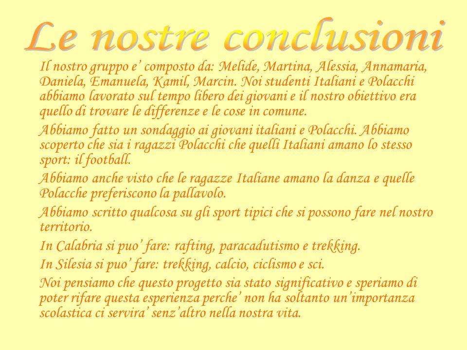 Il nostro gruppo e composto da: Melide, Martina, Alessia, Annamaria, Daniela, Emanuela, Kamil, Marcin. Noi studenti Italiani e Polacchi abbiamo lavora