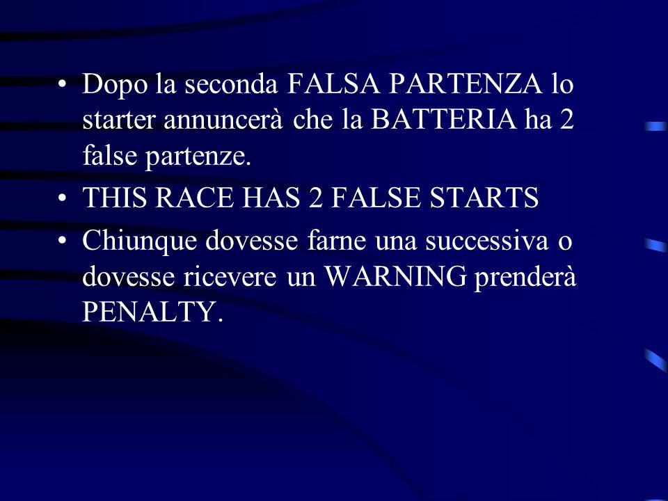 Dopo la seconda FALSA PARTENZA lo starter annuncerà che la BATTERIA ha 2 false partenze. THIS RACE HAS 2 FALSE STARTS Chiunque dovesse farne una succe