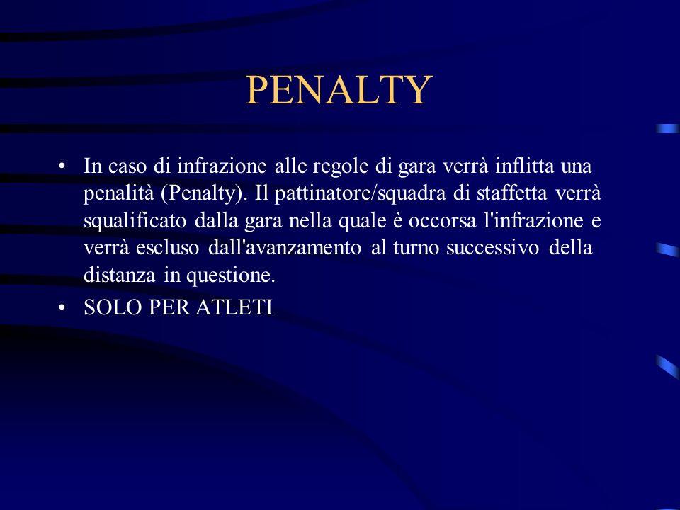 PENALTY In caso di infrazione alle regole di gara verrà inflitta una penalità (Penalty). Il pattinatore/squadra di staffetta verrà squalificato dalla