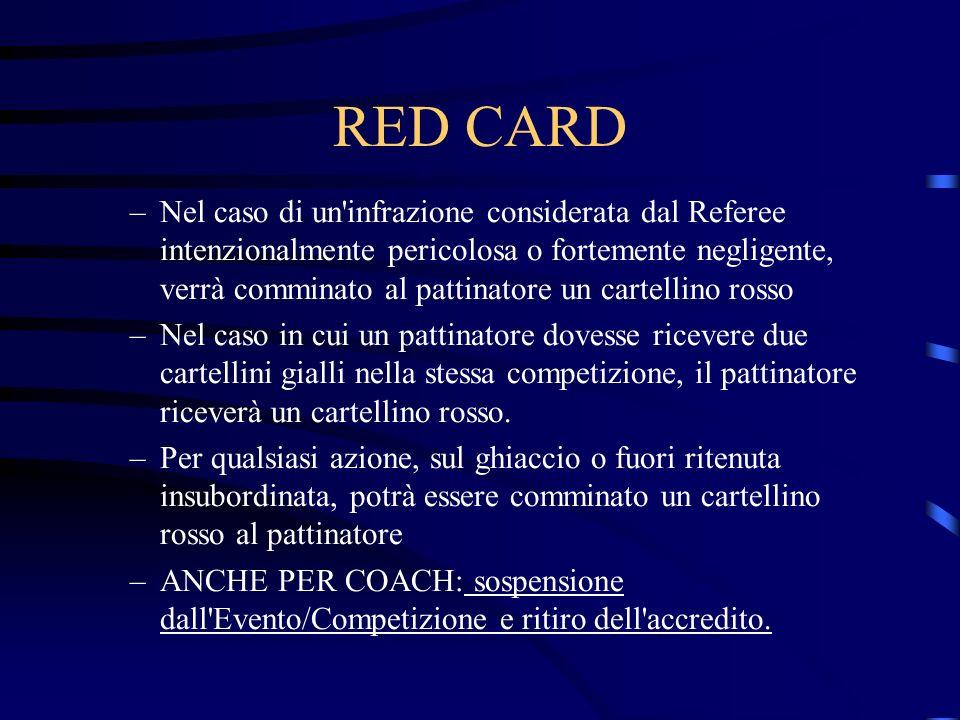 RED CARD –Nel caso di un infrazione considerata dal Referee intenzionalmente pericolosa o fortemente negligente, verrà comminato al pattinatore un cartellino rosso –Nel caso in cui un pattinatore dovesse ricevere due cartellini gialli nella stessa competizione, il pattinatore riceverà un cartellino rosso.