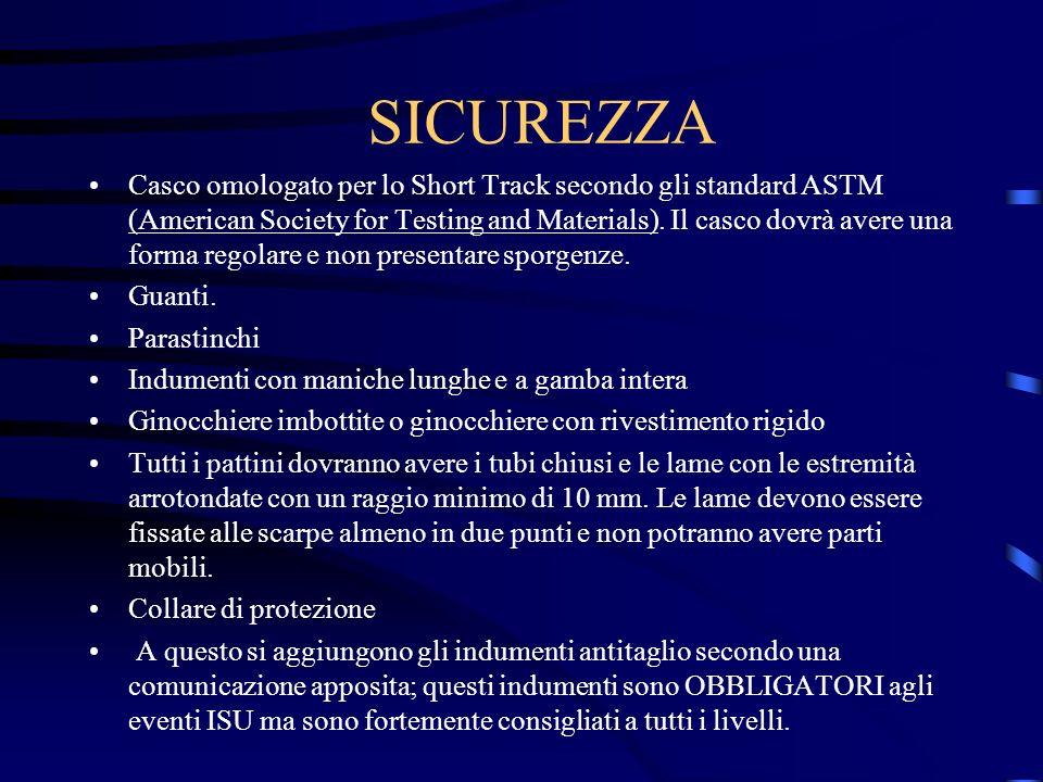 SICUREZZA Casco omologato per lo Short Track secondo gli standard ASTM (American Society for Testing and Materials).