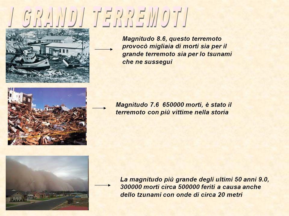 Magnitudo 8.6, questo terremoto provocò migliaia di morti sia per il grande terremoto sia per lo tsunami che ne susseguì Magnitudo 7.6 650000 morti, è