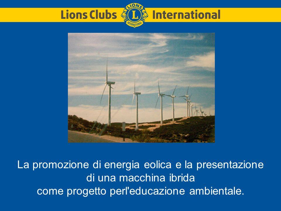 La promozione di energia eolica e la presentazione di una macchina ibrida come progetto perl educazione ambientale.
