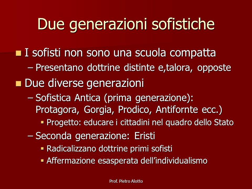 Prof. Pietro Alotto Due generazioni sofistiche I sofisti non sono una scuola compatta I sofisti non sono una scuola compatta –Presentano dottrine dist