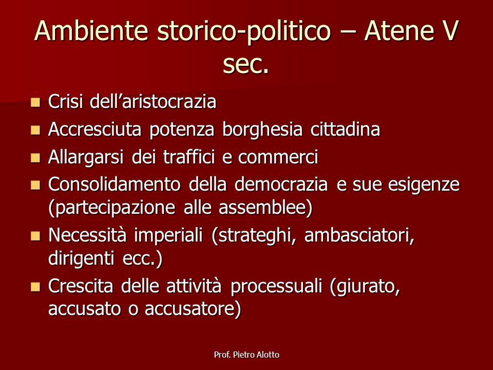 Prof. Pietro Alotto Ambiente storico-politico – Atene V sec. Crisi dellaristocrazia Crisi dellaristocrazia Accresciuta potenza borghesia cittadina Acc