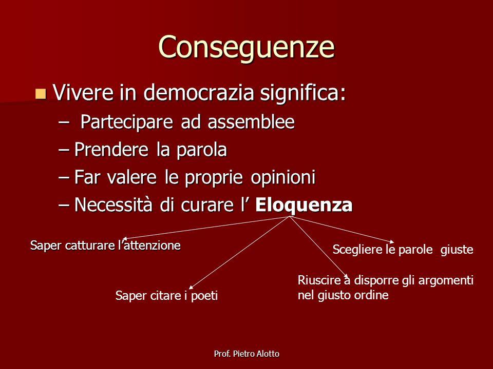 Prof. Pietro Alotto Conseguenze Vivere in democrazia significa: Vivere in democrazia significa: – Partecipare ad assemblee –Prendere la parola –Far va