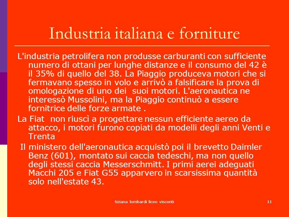 tiziana lombardi liceo visconti11 Industria italiana e forniture L'industria petrolifera non produsse carburanti con sufficiente numero di ottani per