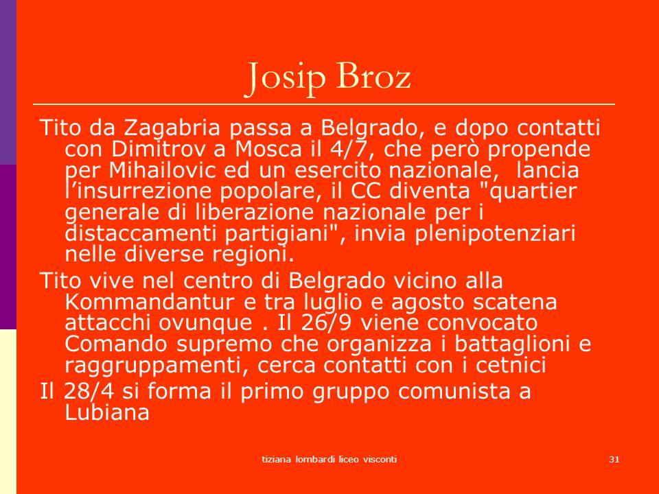 tiziana lombardi liceo visconti31 Josip Broz Tito da Zagabria passa a Belgrado, e dopo contatti con Dimitrov a Mosca il 4/7, che però propende per Mih