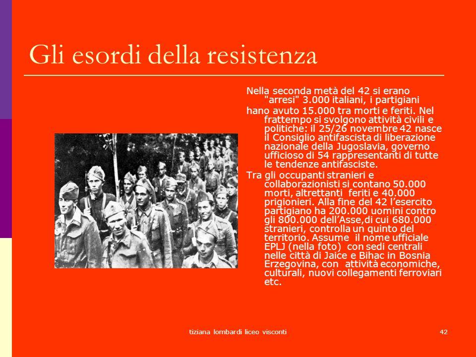 tiziana lombardi liceo visconti42 Gli esordi della resistenza Nella seconda metà del 42 si erano