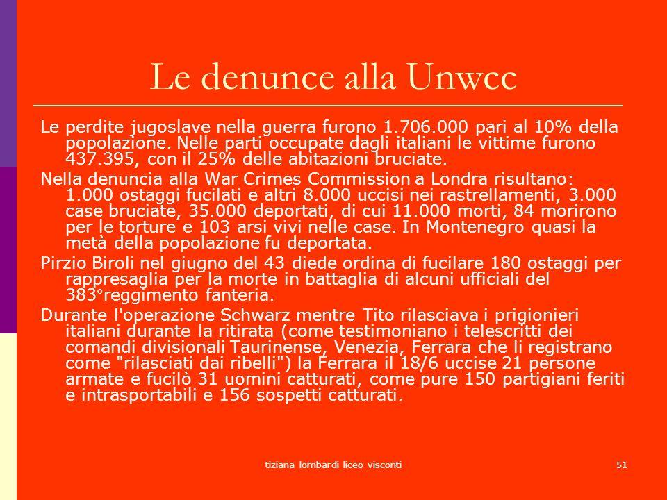 tiziana lombardi liceo visconti51 Le denunce alla Unwcc Le perdite jugoslave nella guerra furono 1.706.000 pari al 10% della popolazione. Nelle parti