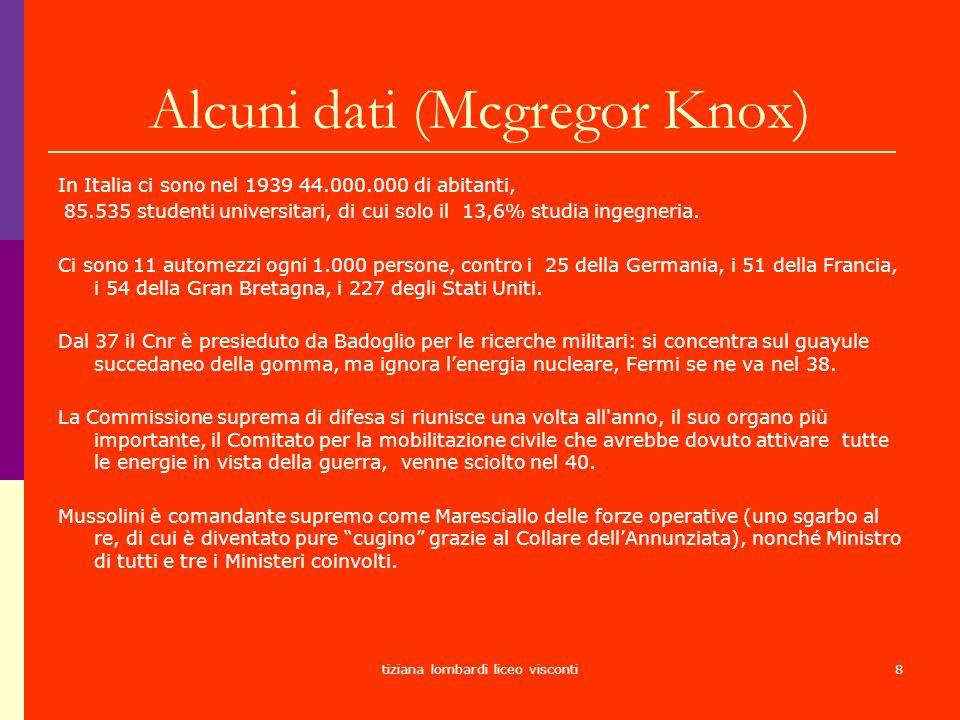 tiziana lombardi liceo visconti8 Alcuni dati (Mcgregor Knox) In Italia ci sono nel 1939 44.000.000 di abitanti, 85.535 studenti universitari, di cui s