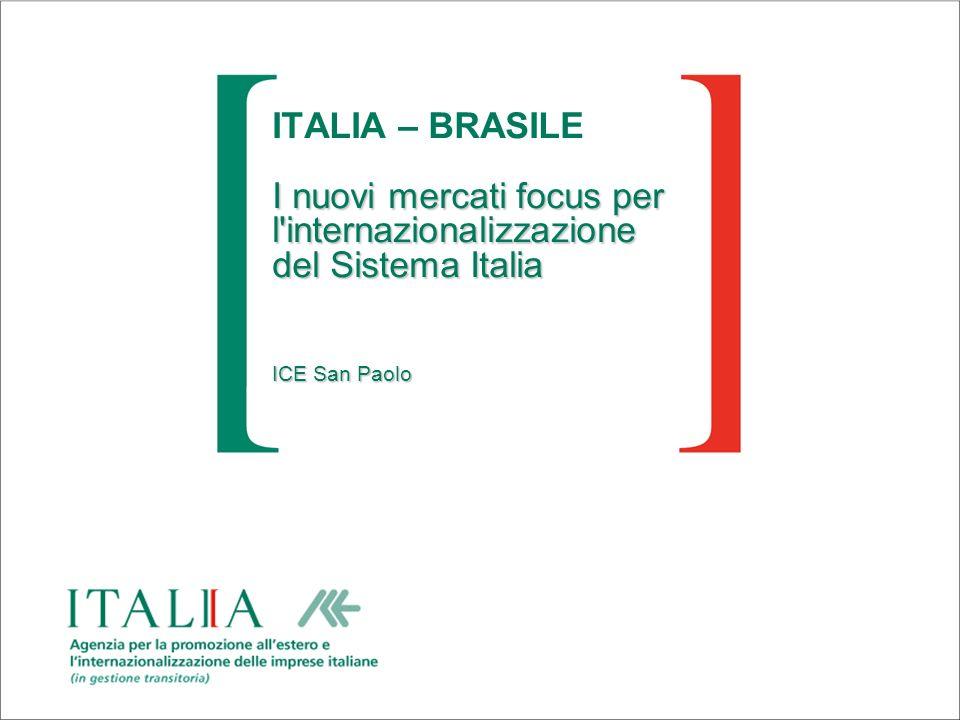 I nuovi mercati focus per l'internazionalizzazione del Sistema Italia ICE San Paolo ITALIA – BRASILE I nuovi mercati focus per l'internazionalizzazion