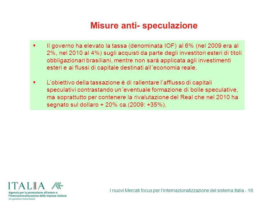 I nuovi Mercati focus per l'internazionalizzazione del sistema Italia - 16 Misure anti- speculazione Il governo ha elevato la tassa (denominata IOF) a