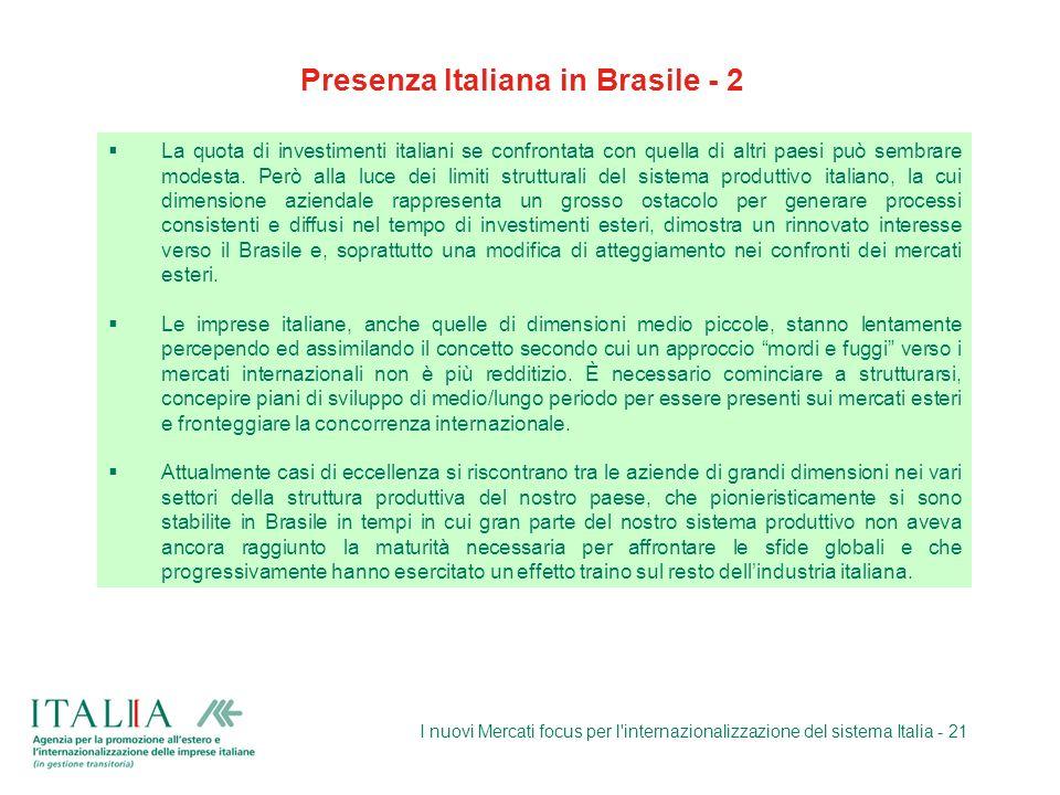 I nuovi Mercati focus per l'internazionalizzazione del sistema Italia - 21 La quota di investimenti italiani se confrontata con quella di altri paesi