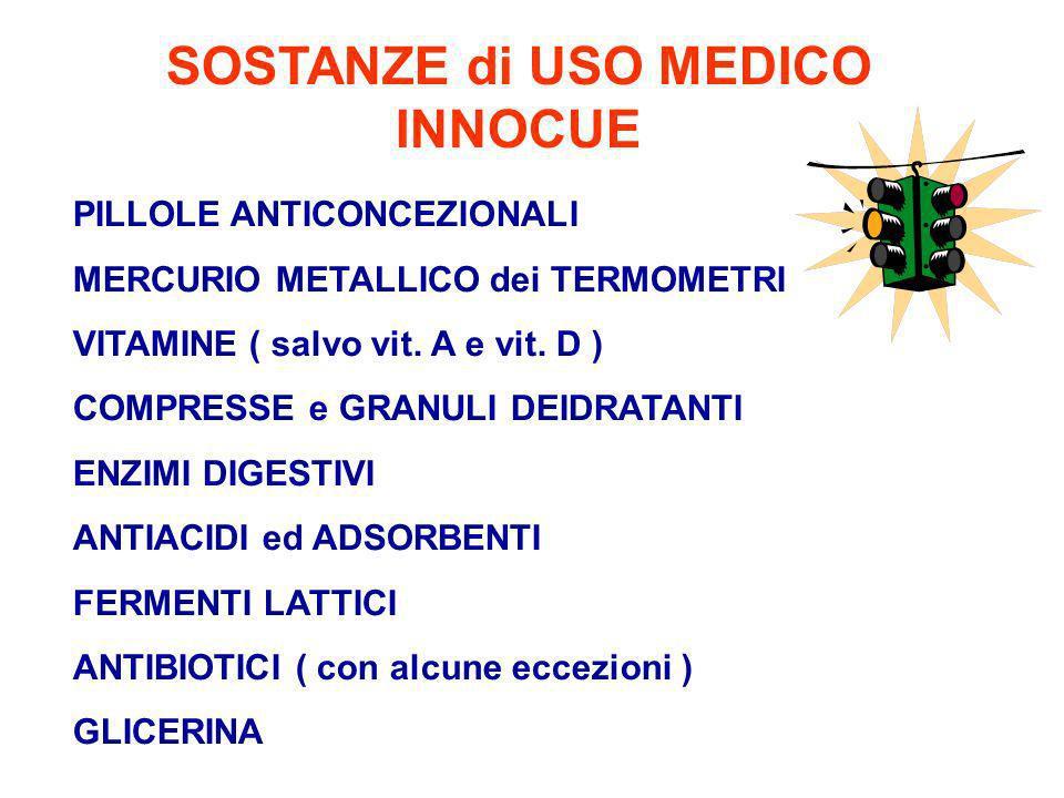 SOSTANZE di USO MEDICO INNOCUE PILLOLE ANTICONCEZIONALI MERCURIO METALLICO dei TERMOMETRI VITAMINE ( salvo vit.