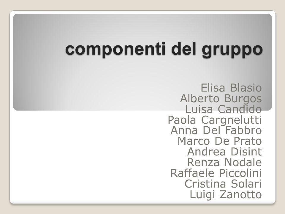 componenti del gruppo Elisa Blasio Alberto Burgos Luisa Candido Paola Cargnelutti Anna Del Fabbro Marco De Prato Andrea Disint Renza Nodale Raffaele P