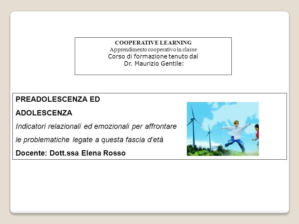 COOPERATIVE LEARNING Apprendimento cooperativo in classe Corso di formazione tenuto dal Dr. Maurizio Gentile: PREADOLESCENZA ED ADOLESCENZA Indicatori