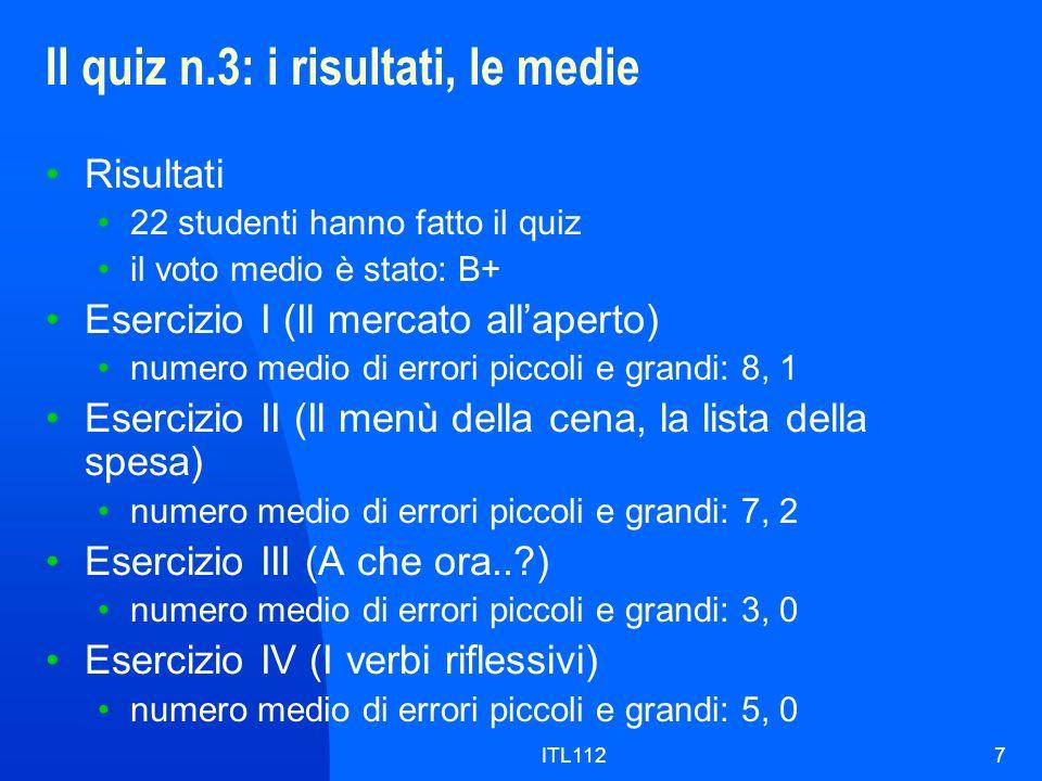 ITL1127 Il quiz n.3: i risultati, le medie Risultati 22 studenti hanno fatto il quiz il voto medio è stato: B+ Esercizio I (Il mercato allaperto) numero medio di errori piccoli e grandi: 8, 1 Esercizio II (Il menù della cena, la lista della spesa) numero medio di errori piccoli e grandi: 7, 2 Esercizio III (A che ora..?) numero medio di errori piccoli e grandi: 3, 0 Esercizio IV (I verbi riflessivi) numero medio di errori piccoli e grandi: 5, 0