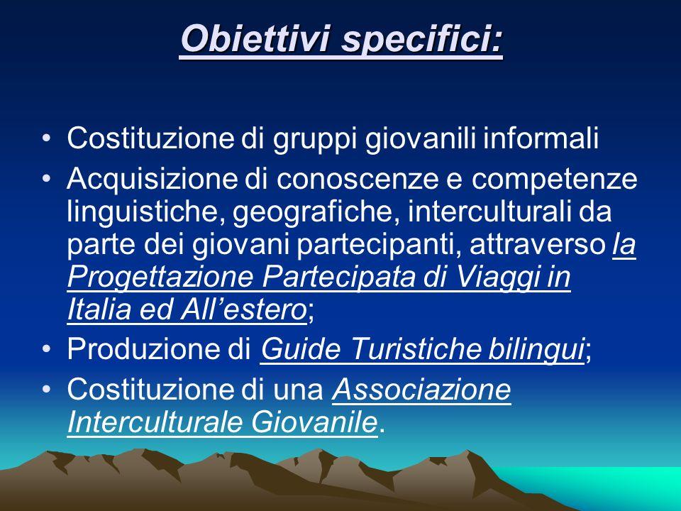 Obiettivi specifici: Costituzione di gruppi giovanili informali Acquisizione di conoscenze e competenze linguistiche, geografiche, interculturali da p
