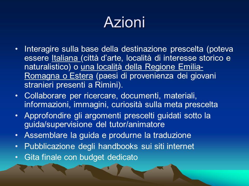 Azioni Interagire sulla base della destinazione prescelta (poteva essere Italiana (città darte, località di interesse storico e naturalistico) o una l