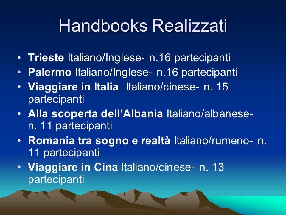 Handbooks Realizzati Trieste Italiano/Inglese- n.16 partecipanti Palermo Italiano/Inglese- n.16 partecipanti Viaggiare in Italia Italiano/cinese- n. 1