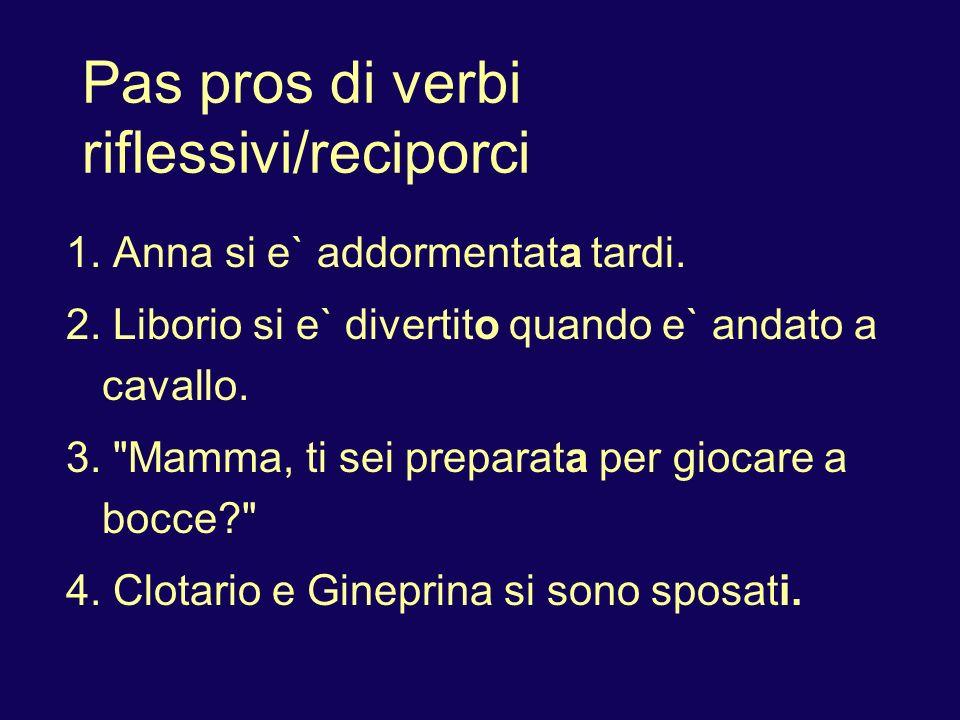 Pas pros di verbi riflessivi/reciporci In negative sentences, place non before the reflexive pronoun: 1.