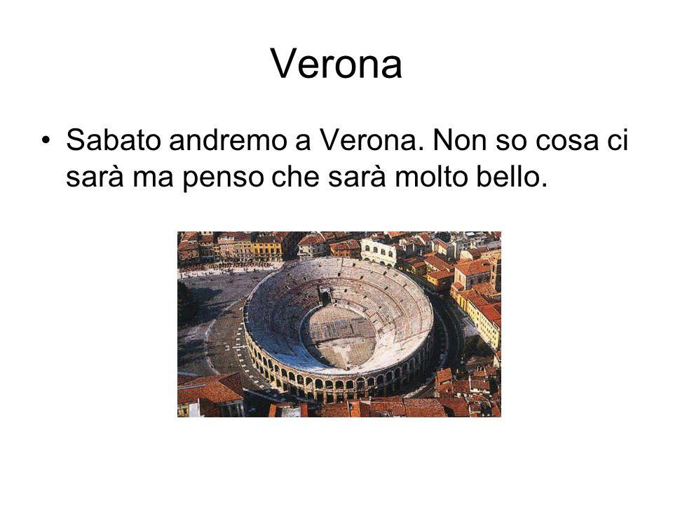 Verona Sabato andremo a Verona. Non so cosa ci sarà ma penso che sarà molto bello.