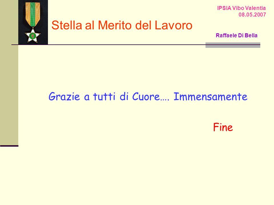 Grazie a tutti di Cuore…. Immensamente Fine IPSIA Vibo Valentia 08.05.2007 Stella al Merito del Lavoro Raffaele Di Bella