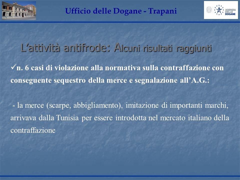 Lattività antifrode: Alcuni risultati raggiunti Ufficio delle Dogane - Trapani n. 6 casi di violazione alla normativa sulla contraffazione con consegu