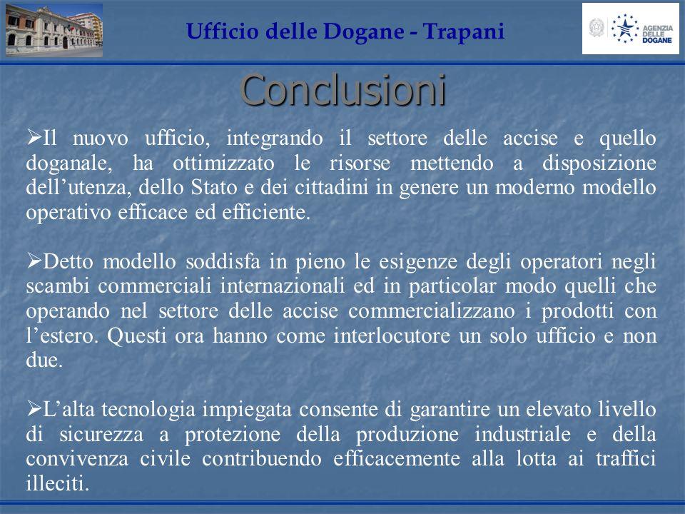 Conclusioni Ufficio delle Dogane - Trapani Il nuovo ufficio, integrando il settore delle accise e quello doganale, ha ottimizzato le risorse mettendo