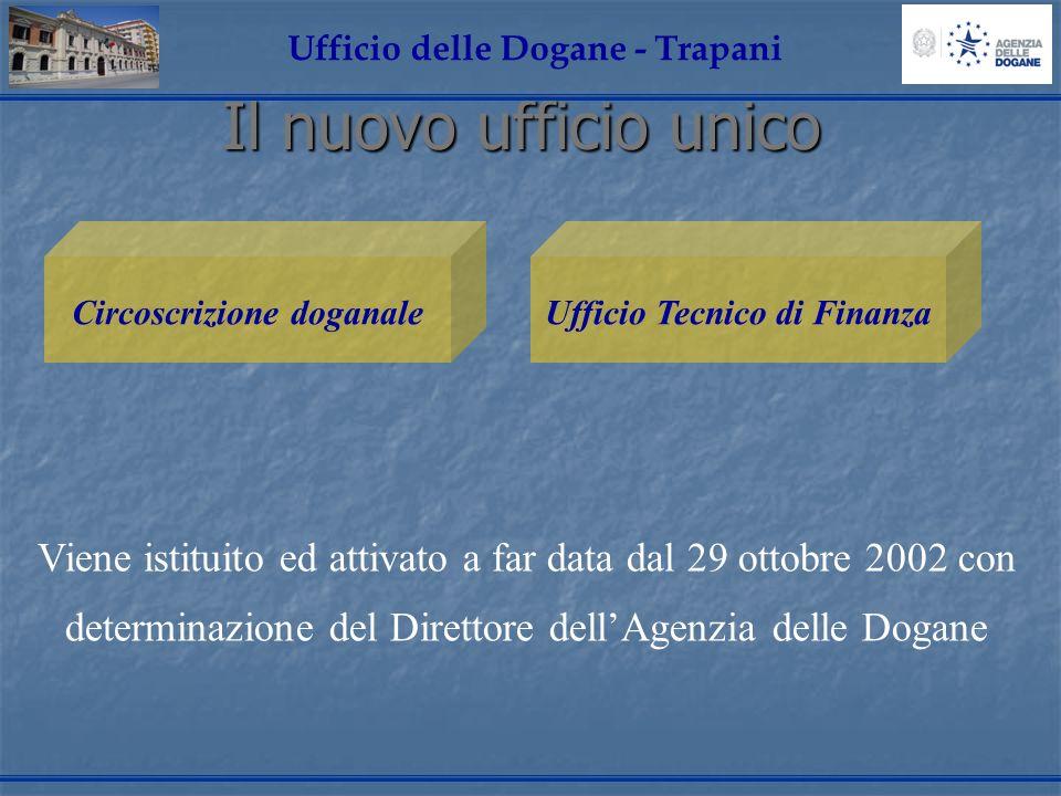 Il nuovo ufficio unico Ufficio delle Dogane - Trapani Circoscrizione doganaleUfficio Tecnico di Finanza Viene istituito ed attivato a far data dal 29 ottobre 2002 con determinazione del Direttore dellAgenzia delle Dogane