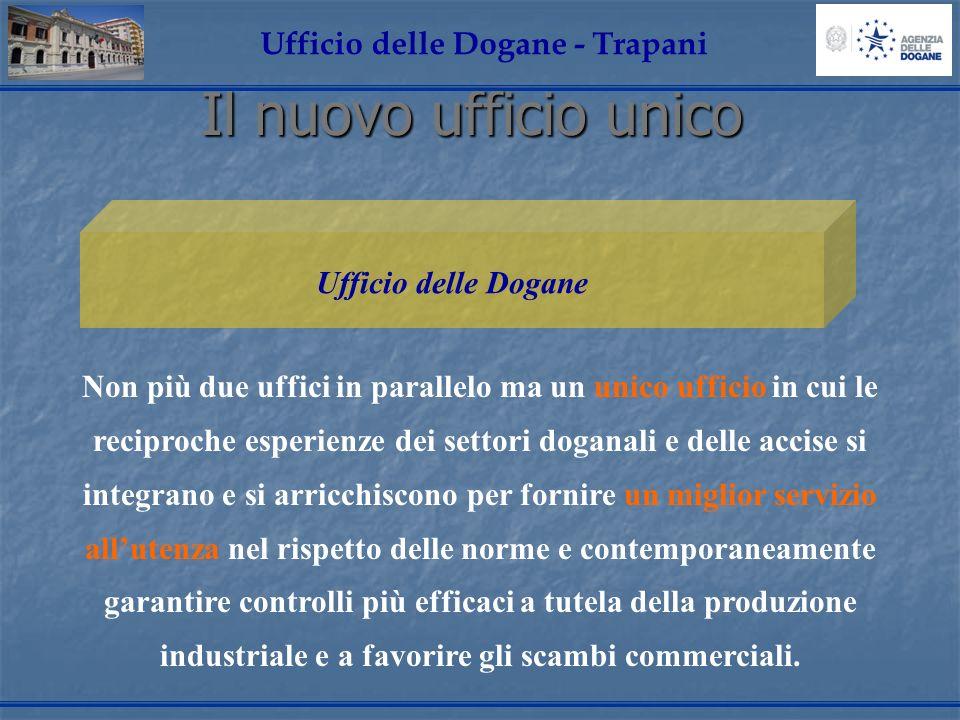 Il nuovo ufficio unico Ufficio delle Dogane - Trapani Non più due uffici in parallelo ma un unico ufficio in cui le reciproche esperienze dei settori