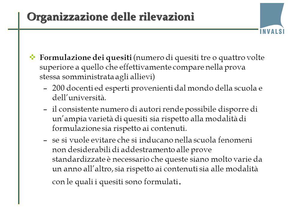 Organizzazione delle rilevazioni Formulazione dei quesiti (numero di quesiti tre o quattro volte superiore a quello che effettivamente compare nella p