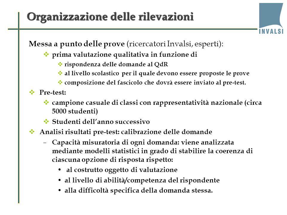 Organizzazione delle rilevazioni Messa a punto delle prove (ricercatori Invalsi, esperti): prima valutazione qualitativa in funzione di rispondenza de