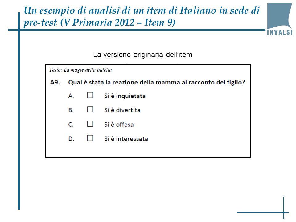 Un esempio di analisi di un item di Italiano in sede di pre-test (V Primaria 2012 – Item 9) La versione originaria dellitem