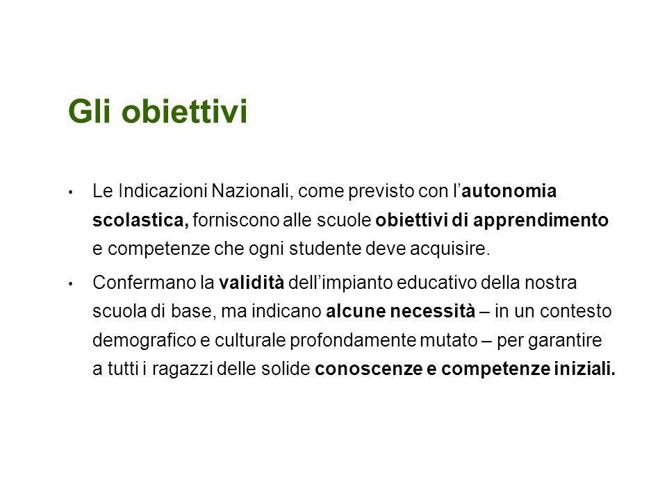 Gli obiettivi Le Indicazioni Nazionali, come previsto con lautonomia scolastica, forniscono alle scuole obiettivi di apprendimento e competenze che og
