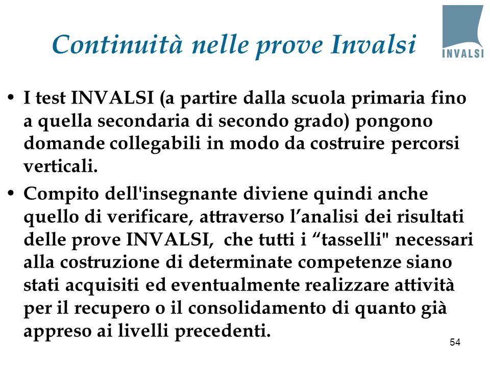 Continuità nelle prove Invalsi I test INVALSI (a partire dalla scuola primaria fino a quella secondaria di secondo grado) pongono domande collegabili