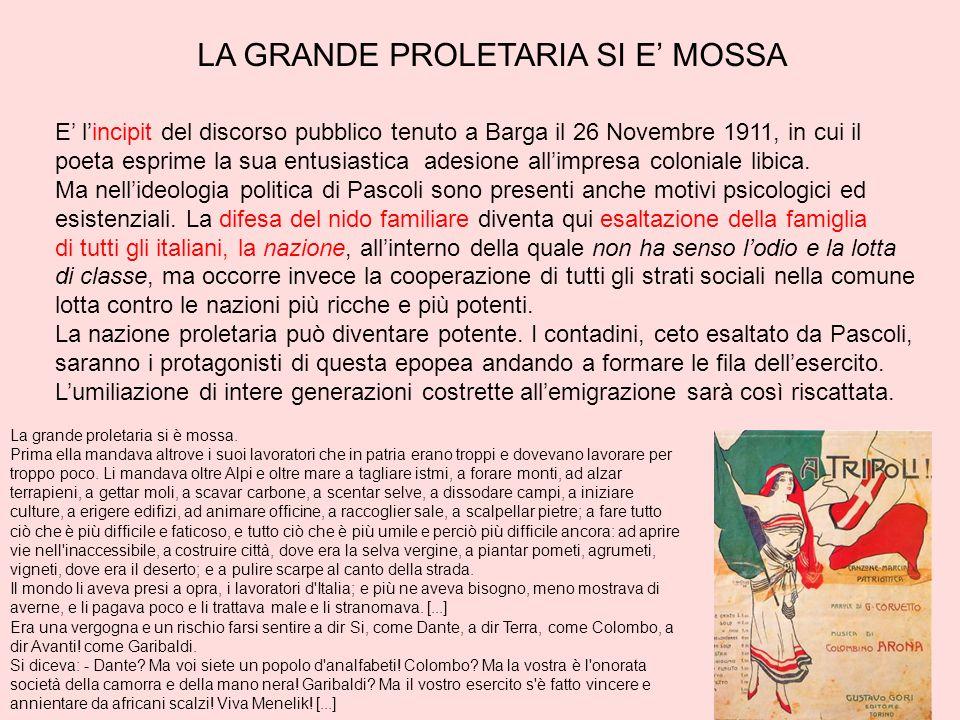LA GRANDE PROLETARIA SI E MOSSA E lincipit del discorso pubblico tenuto a Barga il 26 Novembre 1911, in cui il poeta esprime la sua entusiastica adesi