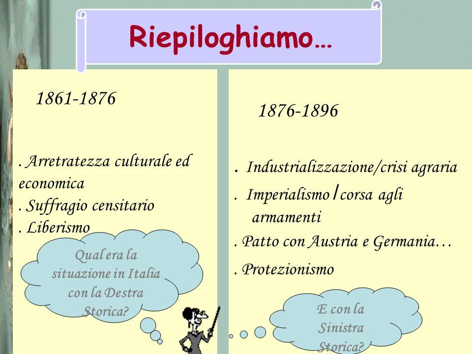 1876-1896. Industrializzazione/crisi agraria. Imperialismo / corsa agli armamenti. Patto con Austria e Germania…. Protezionismo 1861-1876. Arretratezz