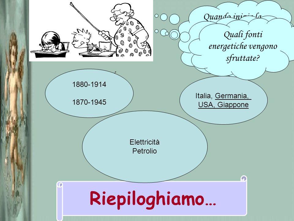 Quando inizia la seconda rivoluzione industriale? Riepiloghiamo… 1880-1914 1870-1945 Quali Paesi sono coinvolti? Italia, Germania, USA, Giappone Quali