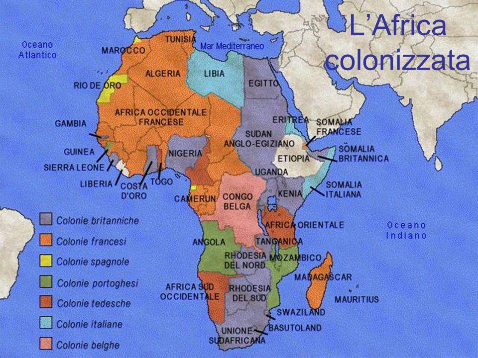 La spartizione dellAfrica (1914) Somalia (1885; 1908) Eritrea (1890) Libia (1912) Etiopia (Abissinia) FR GB FR Italia