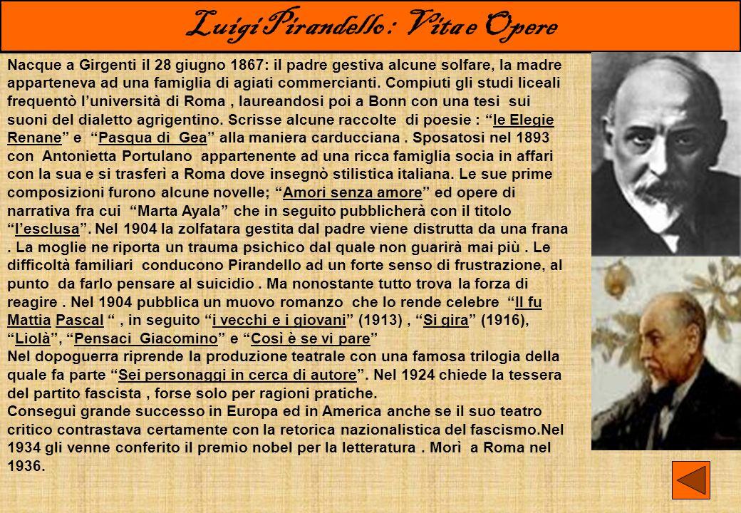 Luigi Pirandello : Illusione e Realtà La vita e le opere.…perché una realtà non ci fu data e non c è ; ma dobbiamo farcela noi, se vogliamo essere ; e