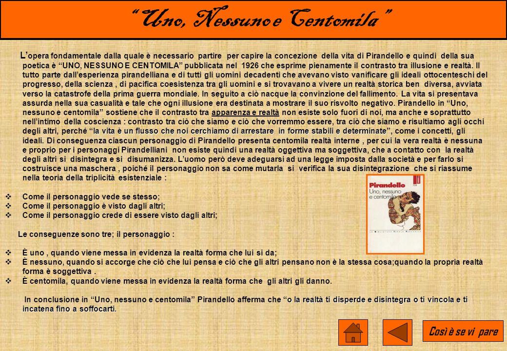 Luigi Pirandello : Vita e Opere Nacque a Girgenti il 28 giugno 1867: il padre gestiva alcune solfare, la madre apparteneva ad una famiglia di agiati c