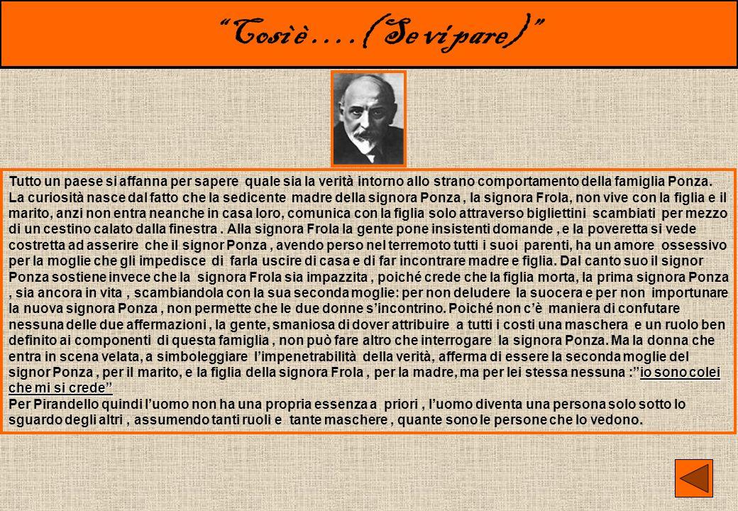Così è ….( Se vi pare) Altra significativa opera di Luigi Pirandello è Così è (se vi pare) messa in scena per la prima volta nel 1917. Lho scelta perc