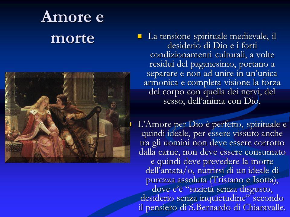 Amore e morte La tensione spirituale medievale, il desiderio di Dio e i forti condizionamenti culturali, a volte residui del paganesimo, portano a sep