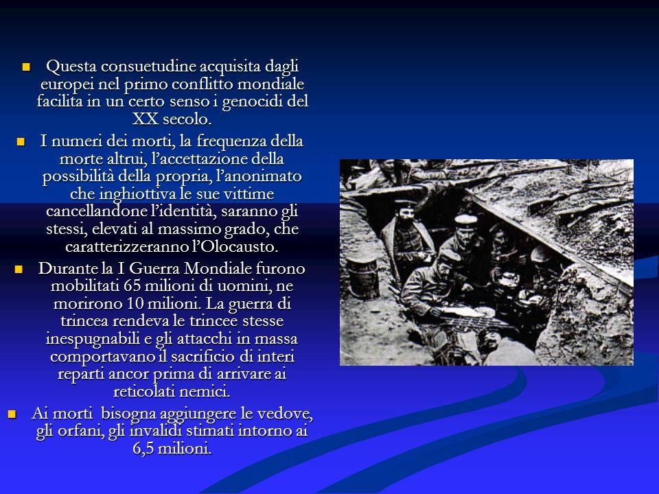 Questa consuetudine acquisita dagli europei nel primo conflitto mondiale facilita in un certo senso i genocidi del XX secolo. Questa consuetudine acqu