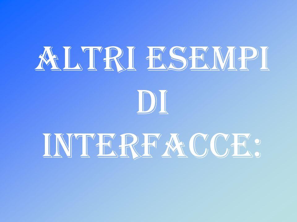Altri esempi di interfacce: