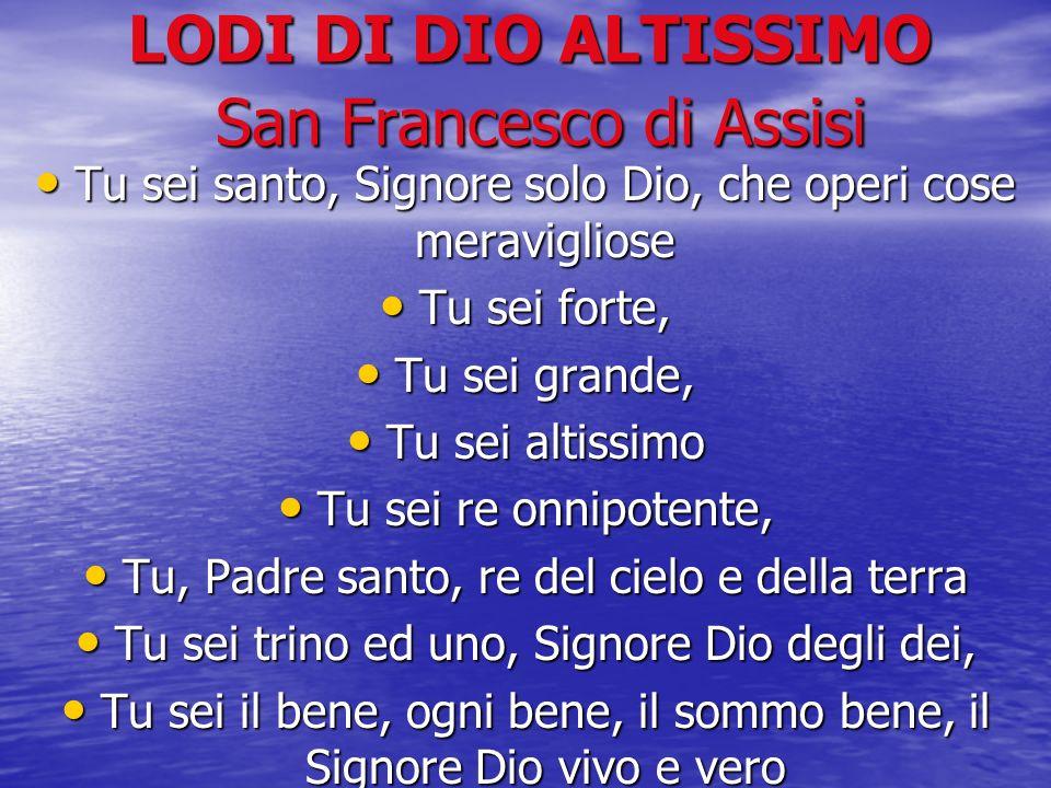 LODI DI DIO ALTISSIMO San Francesco di Assisi Tu sei santo, Signore solo Dio, che operi cose meravigliose Tu sei santo, Signore solo Dio, che operi co