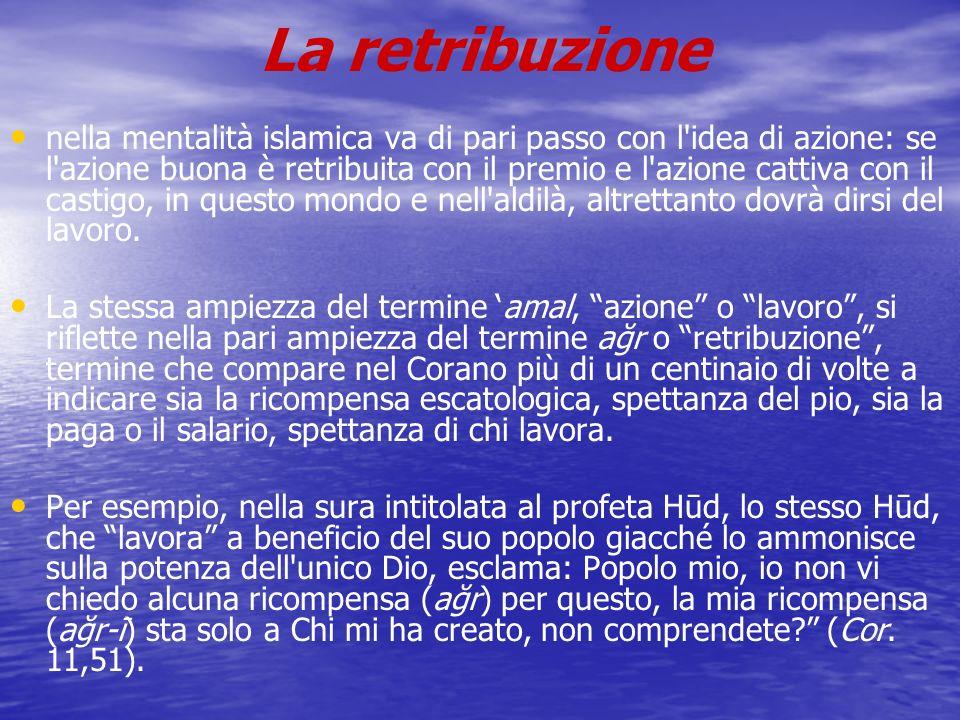 La retribuzione nella mentalità islamica va di pari passo con l'idea di azione: se l'azione buona è retribuita con il premio e l'azione cattiva con il